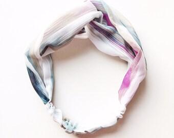 Phyllis Fabric Headband - Turban headband - Water color fabric - Boho headband - Womans headband - Adult headband - Purple headband
