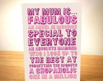 My Mum Is.... Personalised Mother's Day Card - Designed and Printed in Yorkshire - Free Post - Beautiful Typography Mothers Day Card