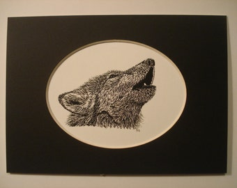 "Howling Wolf print - 5"" x 7"" black mat."