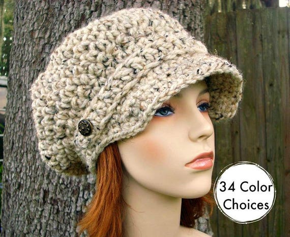 Oatmeal Womens Hat Oatmeal Newsboy Hat - Crochet Newsboy Hat Oatmeal Crochet Hat - Oatmeal Hat Womens Accessories - 34 Color Choices