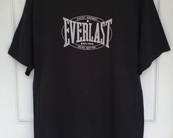 Men's vintage 90's black cotton short sleeve EVERLAST logo tee deadstock NWT size Medium