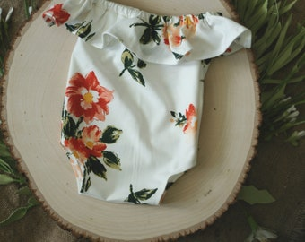 Newborn Photography Prop - Valentina Romper - Cream Stretch Knit with Floral Pattern