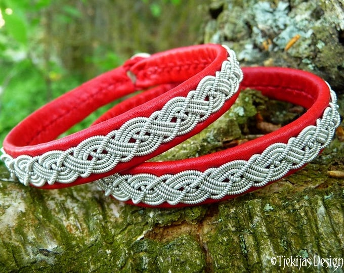 Sami Bracelet MIDGARD Red Leather Viking Wristband Cuff decorated with Pewter Braid - Custom  Handmade Norse Folklore