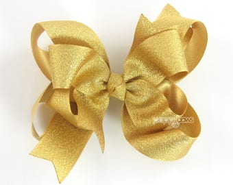 """Gold Hair Bow, 4"""" gold hair bow, girls hair bow, metallic hair bows, 4 inch gold, baby hair bow, big gold hair bow, large, double layer"""