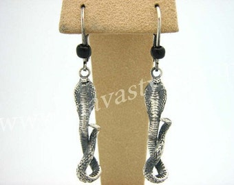 Detailed Sterling Silver Snake Cobra Earrings Serpent
