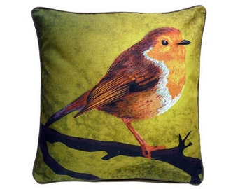 Cushion cover for throw pillow with bird - English Robin in green - 16x16 inch // 40x40cm