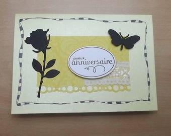 """Yellow """"happy birthday"""", handmade."""