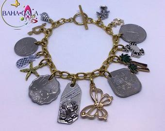 BG Authentic Bahamian Coin Charm Bracelet.