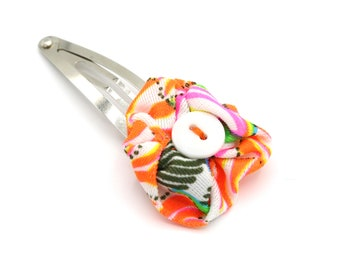 KIDS Hair Clip - Vintage Fabric Flower with Button - Limited Edition Key West Collection