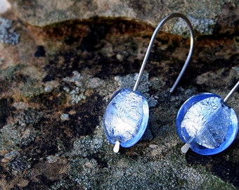Sky Blue Murano Glass and Sterling Silver handcrafted Earrings