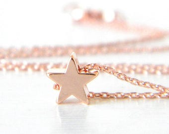 Star Choker, Rose Gold Star Necklace, Dainty Star Necklace, Tiny Star Necklace, Delicate Rose Gold Star Necklace
