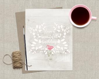 Feminine Birthday Card / Happy Birthday Card / Birthday Greeting Card / Beautiful Birthday Card / Birthday Card for Friend / Floral Birthday