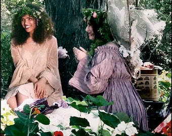Featured in Faerie Magazine - Luminous Pale Rose Tunic by Kambriel - Iridescent Pleated Linen - Flared Sleeves - Brand New & Ready to Ship!