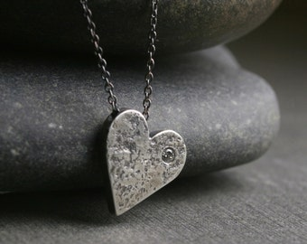 Hammered chunky heart pendant necklace with diamond - The knocked around heart
