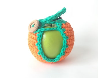 Crochet Apple Cozy Fruit Cozy Cotton Lunch Box Bag Treat // Teacher Gift Neighbor Friend Child Back To School // Colorway Florida Orange