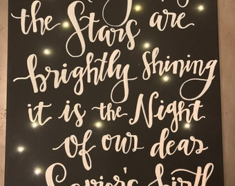 O Holy Night lettering canvas
