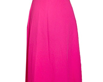 VTG 1970's Hot Pink Maxi Dress Vicky Vaughn with Rhinestone Buckle - Union Made - Small