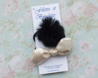 Duo of ringlet hair elastics fabrics gold/real recycled fur Pompom. Christmas. Terry