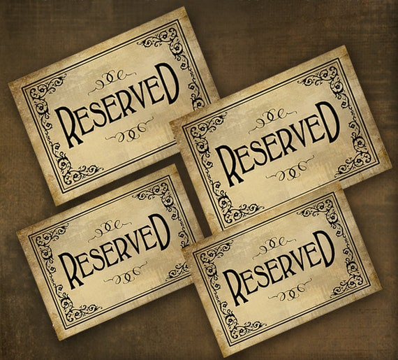 Printed Reserved sign, reserved table sign, wedding sign, reserved seating, banquet seating sign, wedding seating sign, vintage black tie