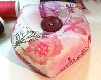 Pincushion, Biscornu -Double sided Pincushion, Pink Butterflies with Emery-Ready to Ship