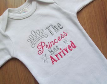 The Princess Has Arrived Custom Baby Outfit Baby Girl Outfit Newborn Outfit Coming Home Outfit Baby Shower Gift Monogrammed Baby Girl