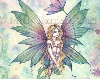 Mystic Garden - Flower Fairy Fine Art Giclee Print - Fantasy Illustration by Molly Harrison 12 x 16