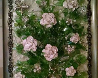 Winters Rose, mixed media mosaic, a white rose bouquet set on a bed of crystal glass.