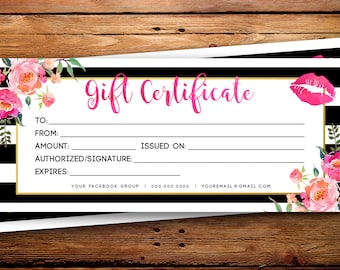 LipSense Business Gift Certificate || SeneGence Gift Card Custom Striped Black & White Watercolor Florals