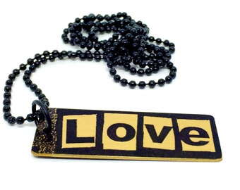 Grunge Necklace - Featuring Love - Black Pendant Necklace - Love Necklace Gold Brass - Word Pendant - Word Necklace - Inspiring Jewelry