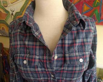 L.L. Bean Madras Plaid Shirt Dress/Blue Red/Hipster Shirtdress/XS/Cotton/llbean