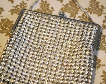 Vintage Deco Rhinestone Evening Purse • Flapper • Diamonté Bag • Bridal Purse