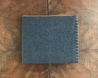 Navy Blue Wool Bifold Cloth Wallet with tan and mint interior