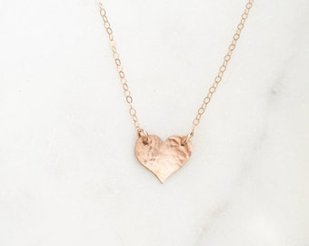 SWEETHEART | Rose Gold Heart Necklace | Dainty Hammered Rose Gold Filled Heart Necklace | Rose Gold Fill Heart Necklace