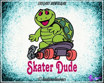 Skater Dude Turtle,  Cut Files, EPS, SVG, Png, Vector