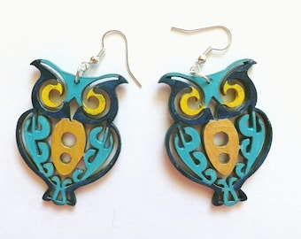 """Wood earrings Owls """"openwork"""" Green Blue, hand-painted funky wood jewelry, personalized laser cut earrings, owl lover gift for her Red Green"""