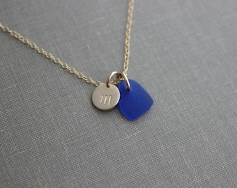 Cobalt blue genuine sea glass and 14k gold filled initial charm and chain, Beach Jewelry, Personalized Monogram necklace - Deep ocean blue