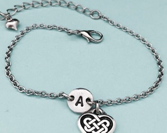 Heart charm bracelet, heart charm, adjustable bracelet, personalized bracelet, initial bracelet, monogram, love bracelet, love charm