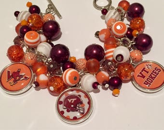 Virginia Tech Charm Bracelet with various maroon and orange beads