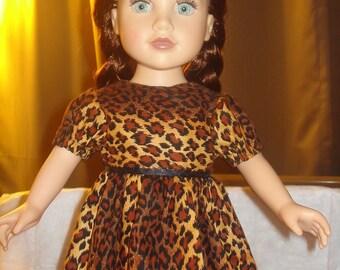 Handmade modest Leopard print dress for 18 inch Dolls - ag186