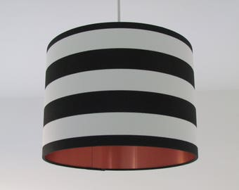 Monochrome Black and White Wide Stripe Brushed Copper Lining Drum Lampshade