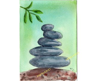 Zen and rocks - Watercolor-original-signed