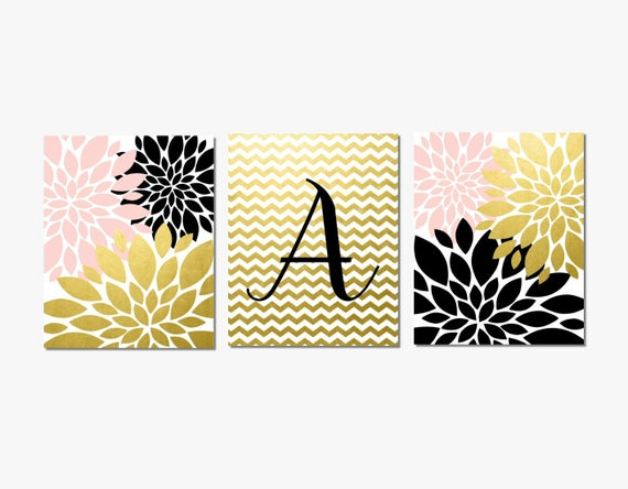 Tween Room Decor Girls Wall Art Personalized Black Gold White