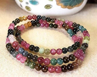 Multi-color Tourmaline 3-loop bracelet / necklace [Natural Crystal]