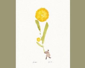 abstract flowers painting, yellow minimalist floral watercolor, scandinavian abstract flower illustration ORIGINAL minimalist flower art
