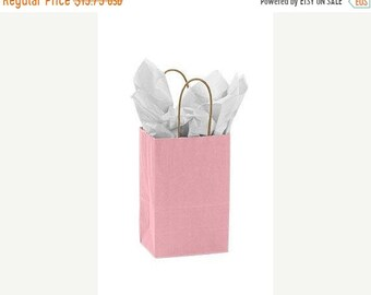 Mothers Day Sale 25 pack Light Pink Recycled 5.25 x 3.5 x 8.5 inch Paper Handle Bags