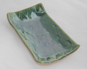 Green, Textured Soap Dish or Tray