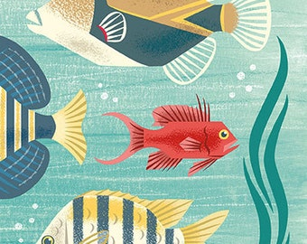 Scenic tropical sea life featuring a Picasso triggerfish in mid century modern style - art print by Pieter M. Dorrenboom