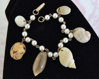 Vintage Bracelet with Faux Pearl Chain and Seashell Charms