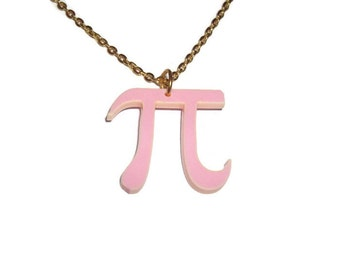 Pi Necklace, Pink Laser Cut Pendant, Math, Mathematics Pythagoras, Geeky Jewelry