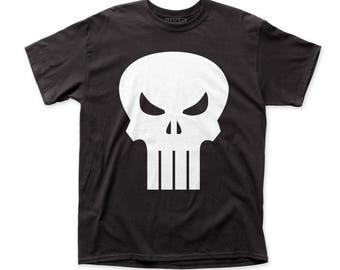 Punisher White Logo Men's Traditional Fit 18/1 Cotton Tee (PUN03) Black